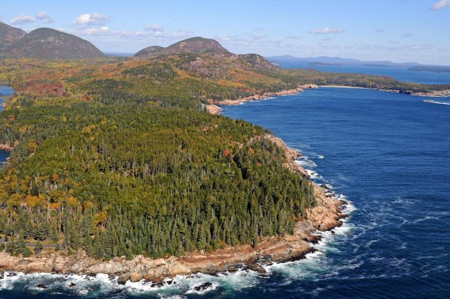 Acadia National Park Coastine, aerial view