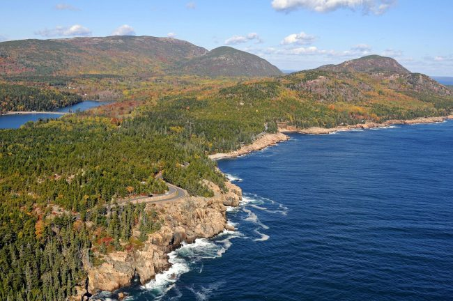 Acadia National Park Coastline, aerial view