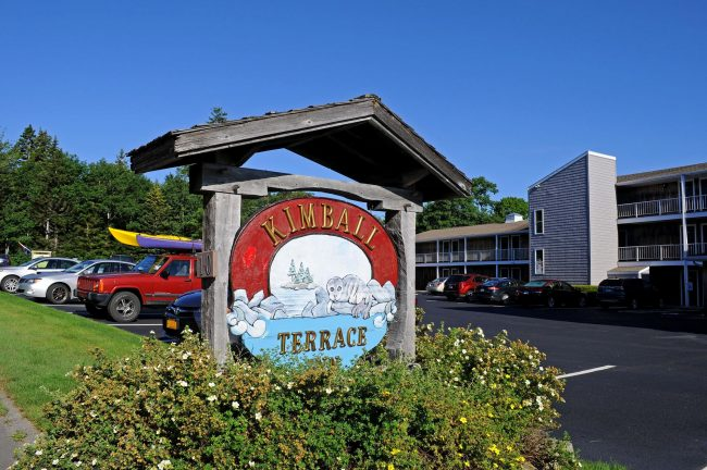 Kimball Terrace Inn sign, exterior view of inn